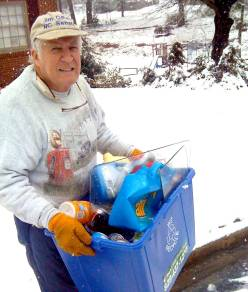 Dad recycling on a cold day